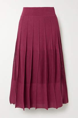 Agnona Pleated Ribbed-knit Midi Skirt - Burgundy