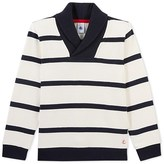 Petit Bateau Boys striped sweatshirt with shawl neck