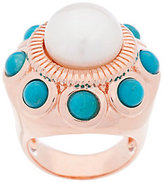 Honora As Is Cultured Pearl 11.0mm & Turquoise Bronze Ring