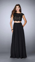 La Femme Sophisticated Laced Bateau Neck Two-Piece Chiffon Dress 23922