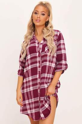 I SAW IT FIRST Burgundy Brushed Check Nightshirt
