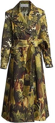Oscar de la Renta Landscape-Print Trench Coat