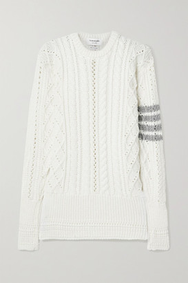 Thom Browne Striped Cable-knit Merino Wool Sweater - Off-white