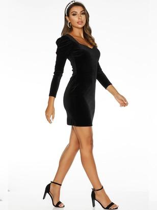 Quiz Sam Faiers Puff Sleeve Velvet Long Sleeve Bodycon Dress - Black