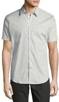 John Varvatos Dot-Print Slim-Fit Short-Sleeve Sport Shirt, White