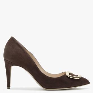 Rupert Sanderson Nada Brown Suede Embellished Court Shoes