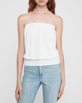Express Cropped Banded Bottom Tie Back Tube Top