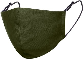 Moss Green Linen Cotton Face Mask With Filter Pocket