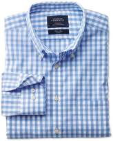 Charles Tyrwhitt Slim fit non-iron poplin sky blue check shirt