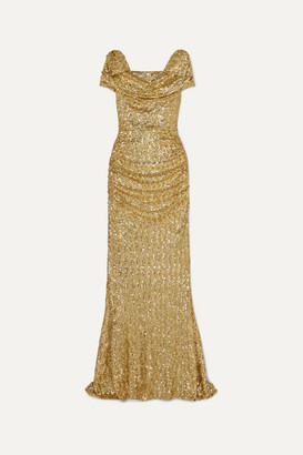 Dolce & Gabbana Draped Sequined Silk-blend Gown - Gold