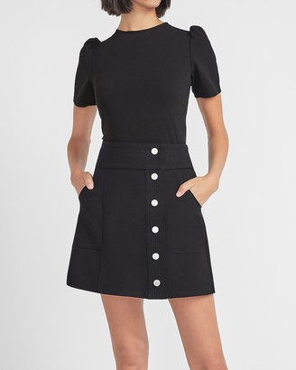 Express Super High Waisted Button Front Utility Mini Skirt