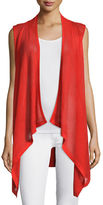 Neiman Marcus Mesh Cashmere-Blend Draped Vest