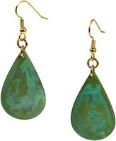 John S Brana Designer Jewelry Green Patinated Copper Tear Drop Earrings By John S Brana Handmade Jewelry Durable Copper Earrings