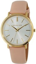 MICHAEL Michael Kors 41.5mm Round Watch w/ Leather Strap, Pink
