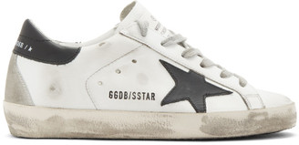 Golden Goose White and Black Superstar Sneakers
