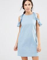 Daisy Street Cold Shoulder Denim Dress With Frill Details