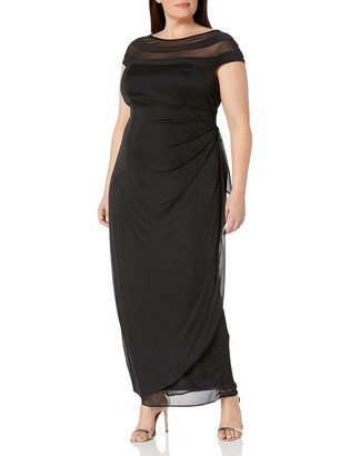 MSK Women's Plus Size Chiffon Mesh Knit Gown with Illusion Neck