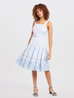 Draper James Embroidered Belted Dress