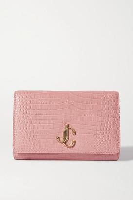 Jimmy Choo Varenne Croc-effect Leather Clutch - Pink