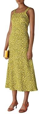 Whistles Llora Clouded Leopard Print Midi Dress