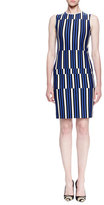 Lanvin Uneven Striped Jersey Sheath Dress