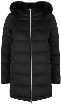 Herno Black quilted cashmere-blend coat