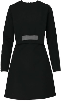 Bluzat Fitted Mini Dress With Unique Neck To Waist Belt Detail