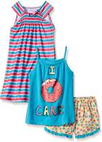 Komar Kids Girls' Big Girls' 3 Piece Sleepwear Set Donut Short Set with Stripe Gown