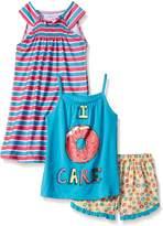 Komar Kids Girls' Big Girls' 3 Piece Sleepwear Set Donut Short Set with Stripe Gown