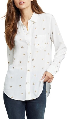 Rails Kate Star Print Silk Button-Up Shirt