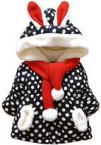 Cocobla Baby Toddlers Girls Outerwear Dot Rabbit Winter Hoodies Scarf Jacket