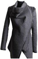 jasmine214 Women's Irregular Drape Long Sleeve Trench Coat Woolen Overcoat