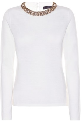 Max Mara Addi embellished wool top