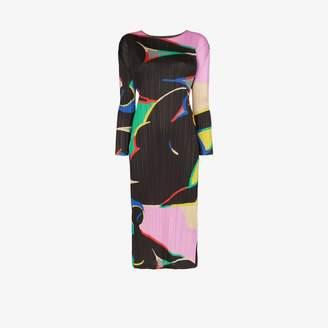 Pleats Please Issey Miyake printed pleated midi dress