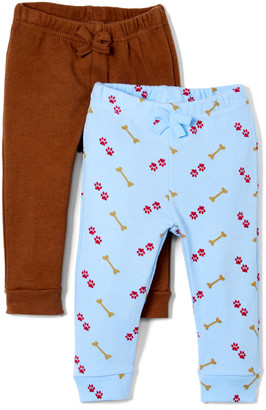 Sweet & Soft Boys' Casual Pants Brown - Light Blue Paw Print Dog Bone Sweatpants & Brown Sweatpants - Newborn & Infant