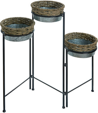 Transpac Metal Multicolor Spring Rope Embellished 3-Tier Plant Stand