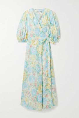 Paul & Joe Floral-print Fil Coupe Cotton Midi Wrap Dress - Cream