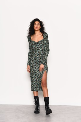 Glamorous Womens **Green Ditsy Printed Jersey Midi Dress By Green