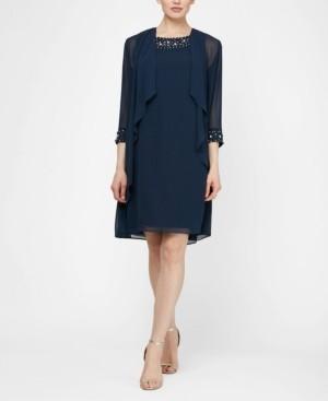 SL Fashions Beaded Neck Jacket Dress