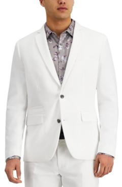 INC International Concepts Inc Men's Slim-Fit Stretch White Solid Suit Jacket, Created for Macy's