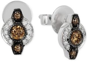 LeVian Le Vian Chocolatier Chocolate Deco Estate Diamond (6- 18 ct. t.w.) stud Earrings in 14k White Gold