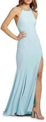 Mac Duggal Embellished Slit Halter Gown