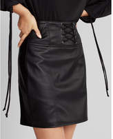 Express high waisted faux leather corset mini skirt