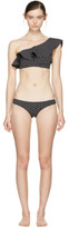 Lisa Marie Fernandez Black and White Arden Flounce Bikini
