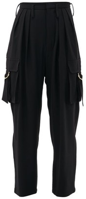 Balmain Pleated High-rise Tapered Cargo Trousers - Womens - Black