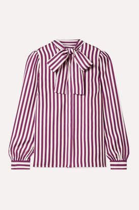 MICHAEL Michael Kors Pussy-bow Striped Silk-twill Blouse - Magenta