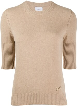 Barrie cropped-sleeve cashmere top