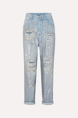 Balmain Embellished Distressed Boyfriend Jeans - Blue
