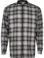 River Island MensGrey check flannel baseball shirt