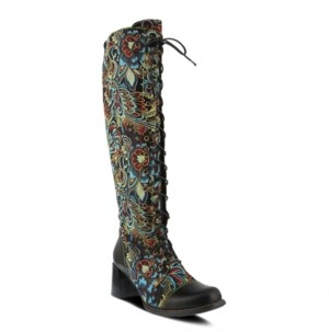 L'Artiste Women's Rarity Floral Jacquard Wide Calf Tall Boots Women's Shoes